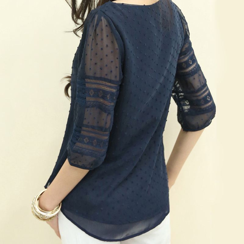 Women Shirt 2018 Chiffon Blouse Half Sleeve O-Neck Lace Casual Blusa Tops Plus Size 5XL Korean Hollow Blouses