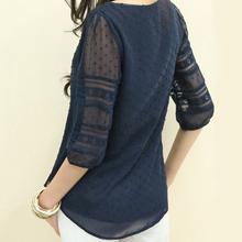 Women Shirt 2018 Chiffon Blouse Half Sleeve O Neck Lace Casual Blusa Tops Plus Size 5XL