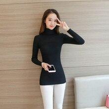 Вязаные женские свитера и пуловеры корейская мода свитер без каблука стрейч два лацкан 20 одноцветное черного цвета красный