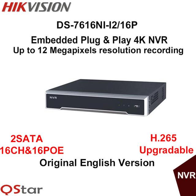 Hikvision original inglês versão ds-7616ni-i2/16 p 16ch nvr com 2 sata e 16 poe, HDMI VGA plug & play 4 K
