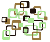 Funky R/ Squares Wall Stickers Vinyl Decal 60pc 3Clr Retro Mod Shapes Peel n Stk