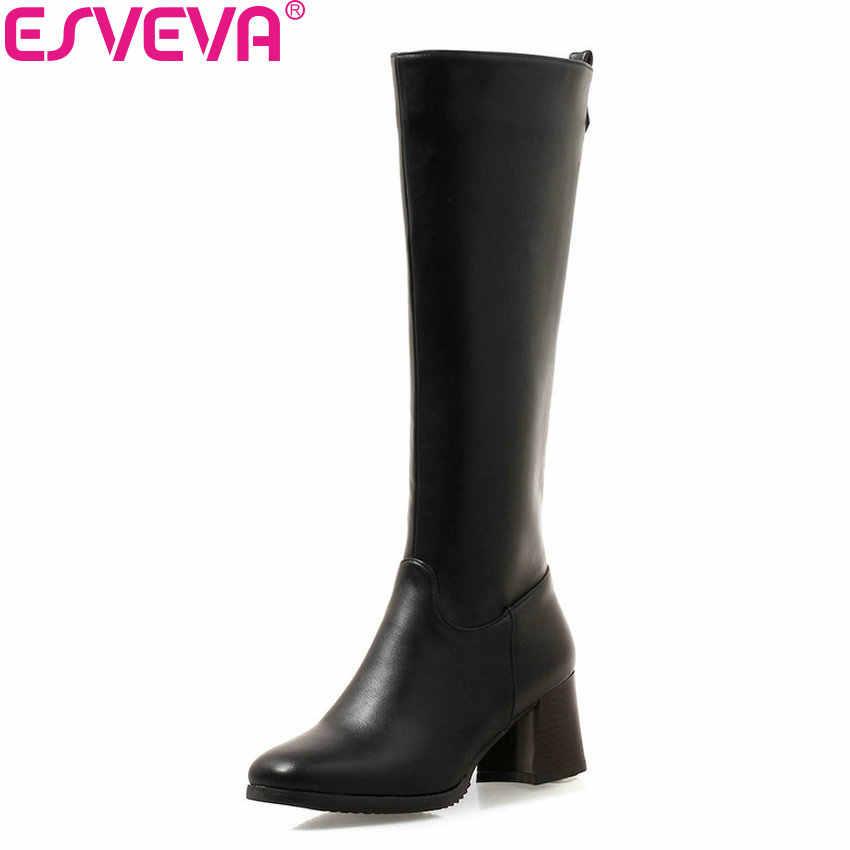 ESVEVA 2019 kadın kışlık bot ayakkabı Zip diz yüksek çizmeler PU deri kare yüksek topuklu kare ayak sonbahar ayakkabı kadın boyutu 34-43