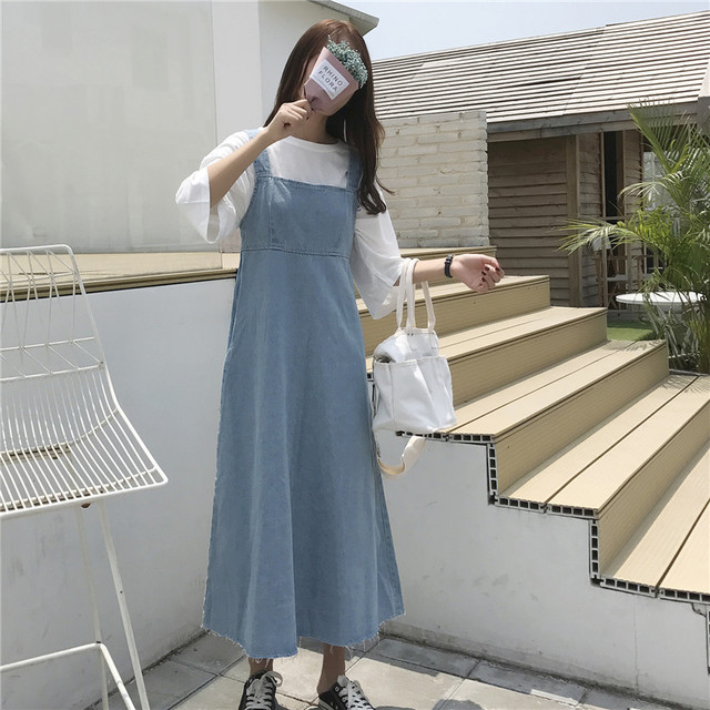 454d5fbe5a Korean Women Plus Size Denim Suspenders Dress Japanese Summer Fashion Maxi  Jeans 2018 Loose Dress Sleeveless Ladies Long Dresses