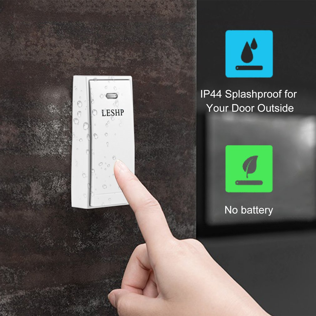 LESHP Easy to Install Music Wireless Doorbell 150M Long-distance Remote Control Night Light 58 pieces of Chord MusicLESHP Easy to Install Music Wireless Doorbell 150M Long-distance Remote Control Night Light 58 pieces of Chord Music