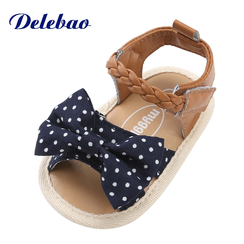 Delebao Summer Ponytail Baby Sandals New Design 2018 Summer Princess Sole Butterfly-knot Infant Toddlers Baby Boy & Girl Shoes