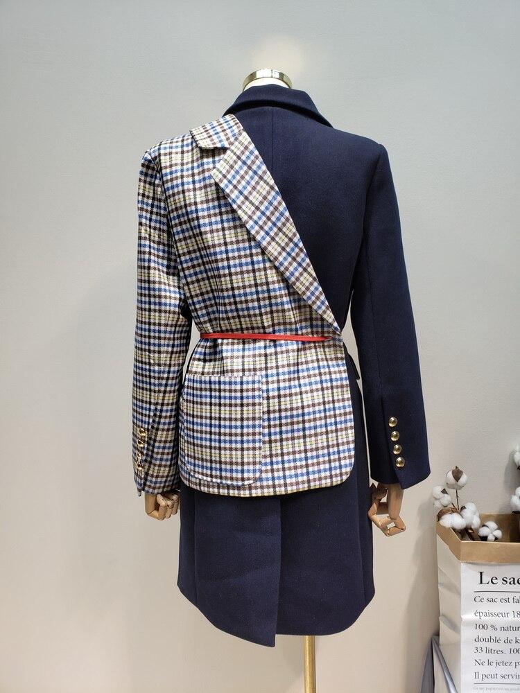 Asymétrie Manteau Couture Femelle De Plaid 2019 Faux Femme Correspondant Irrégulière Black Couleur Getsring Deux Laine Nouveau Pardessus gOdPxqPw