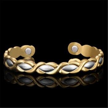96b011bd45f0 Mujeres imán C Forma brazalete hombres las mujeres pulsera Viking cobre  Casual moda joyería oro Color apertura brazalete Y REFUERZO