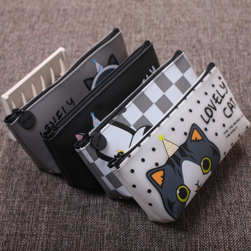 Sale 1PC Creative Cat Cartoon Student PU Pen Pencil Case Pencil Box Stationery Case Zipper Pouch Box Coin Purse mint student navy canvas pen pencil case coin purse pouch bag jun01