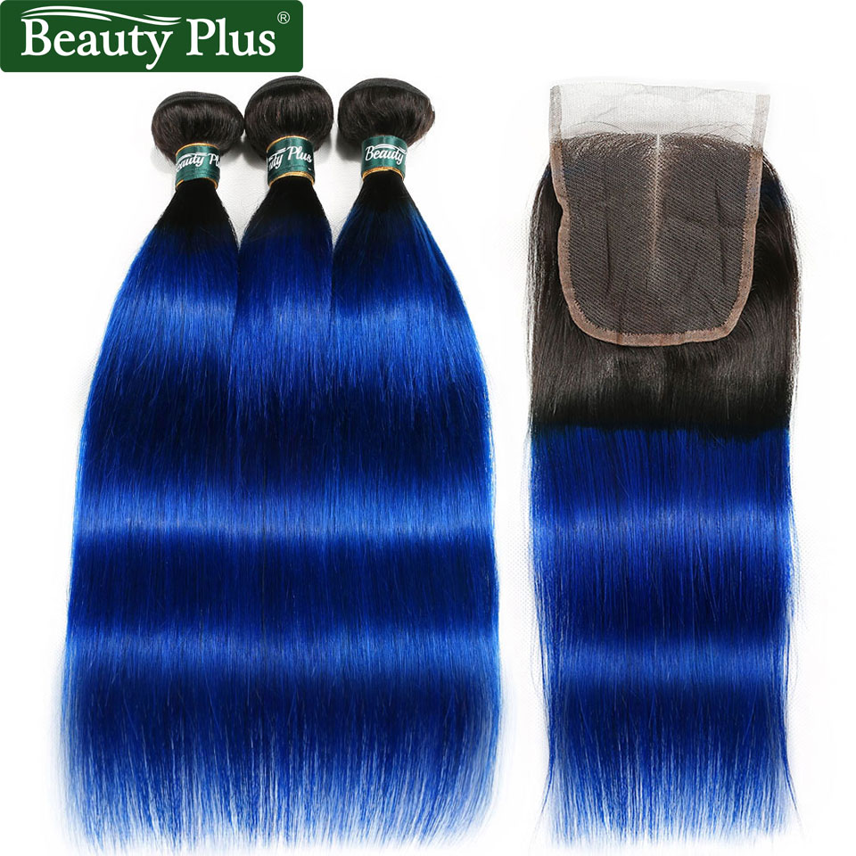 1B Blue Ombre 3 Bundles With Closures Light Brown Lace Beauty Plus Nonremy Brazilian Human Hair Weave Bundles With Lace Closures