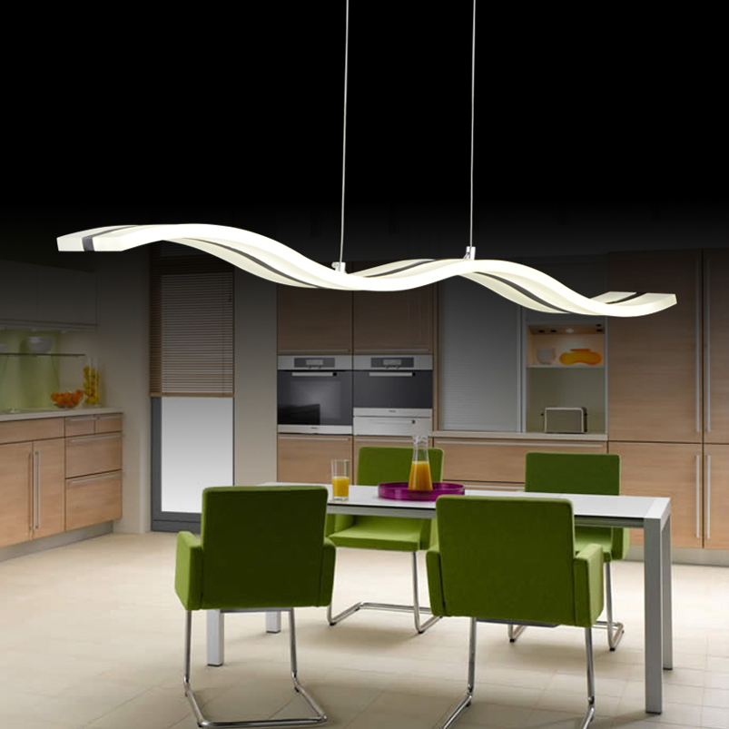 Creative Modern Wave LED Pendant Lamp S 38W Adjustable Hanging Dining Room Restaurant Living