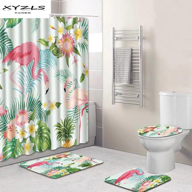Xyzls Flamingo Shower Curtain Set Polyester Waterproof