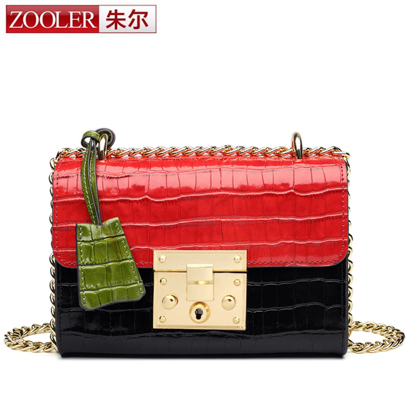 ZOOLEER Fashion Snake Leather Shoulder Bag Women Messenger Hit Color Chain Colorful Crocodile Handbag Design Crossbody Flap Bag yuanyu 2018 new hot free shipping import crocodile women chain bag fashion leather single shoulder bag small dinner packages