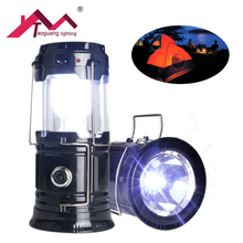 Classic style 6 LEDs solar Rechargeable Hand Lamp Collapsible Solar Camping Lantern Tent Lights for Outdoor Lighting Hiking