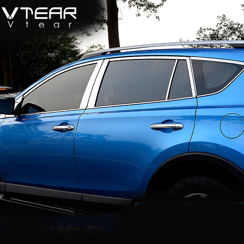 Vtear For Toyota RAV4 2016 2017 full window trim cover Exterior decoration Stainless steel Chromium Styling products accessory цена