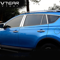 Vtear For Toyota RAV4 2016 2017 full window trim cover Exterior decoration Stainless steel Chromium Styling products accessory