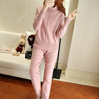 2017 Winter new cashmere knit suit female high collar sweater + suit casual knit trousers two sets of women