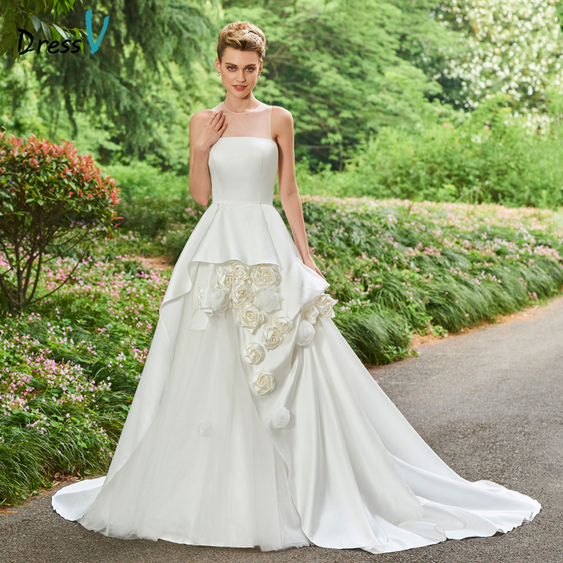 Beautiful Princess Wedding Gowns: Dressv Jewel Neck Ball Gown Wedding Dress Sleeveless Court