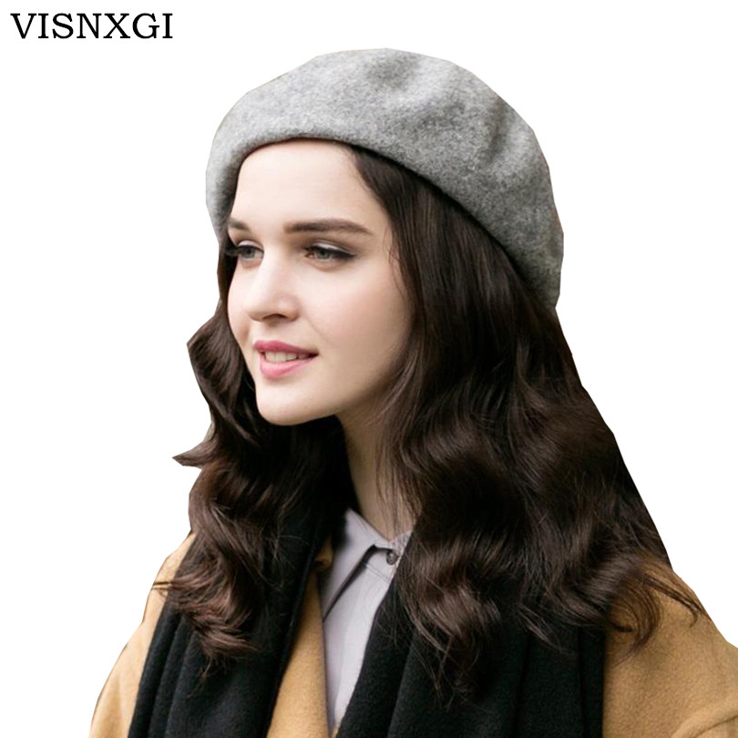 VISNXGI 2017 New Wool Cashmere Winter Hat Womens Warm Brand Casual High Quality Women's Vogue Knitted Hats For Girls 9 Colors 2016 new autumn winter womens wool fedora hat wide brim cowboy panama jazz hats