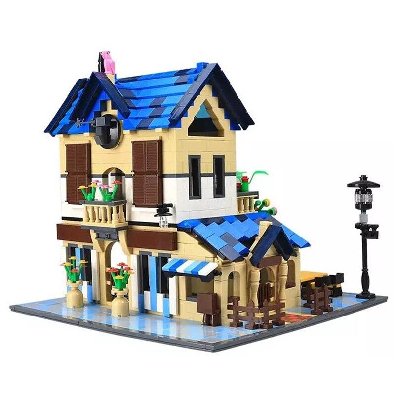 Série d'architecture Kits de Lodge de pays français modèle ensemble blocs de construction classique MOC maison éducation jouets pour enfants 1298 pièces