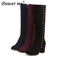 2017 Matte PU knee boots winter fashion women Chunky heel boots personality rivet motorcycle boots large size black blue red