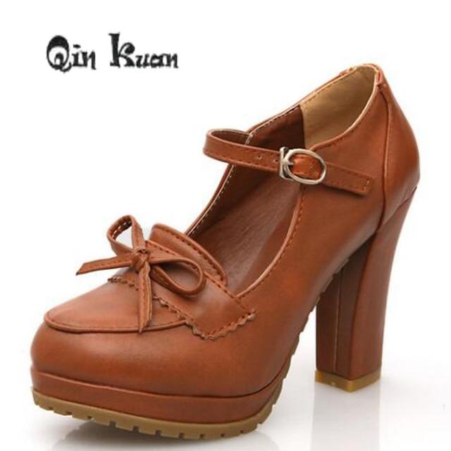 Women Sweet Bowtie Platform Pumps 11 Cm High Heels Pumps Lolita Shoes  Japanese Uniform Shoes Cosplay Shoes Size 34-39 29f87dfccf4a