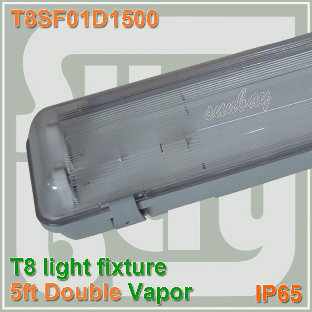 Free Shipping IP65 5FT LED Batten Light Fixture Water Vapor Tight Ceiling For Two T8 Bulb Tube