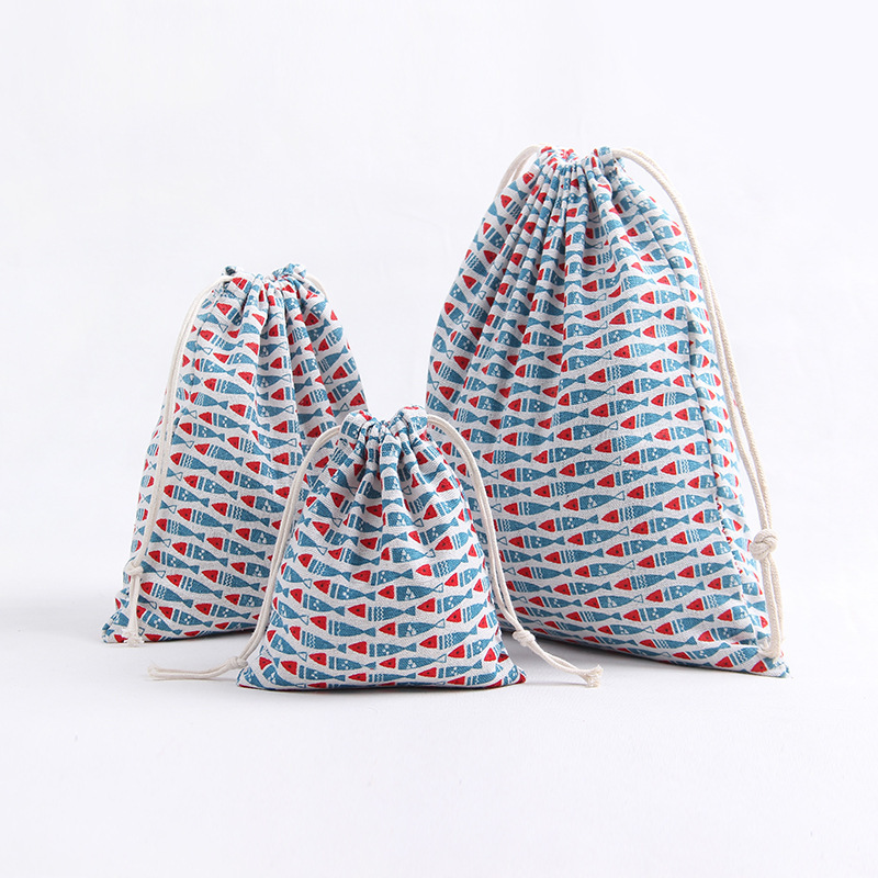 YILE 1pc Cotton Linen Drawstring Multi-purpose Organizer Travel Home Sorted Bag Print Blue Fish 8129e