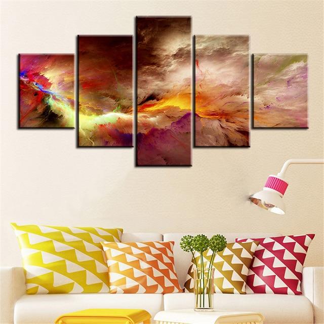 5 Stück Set Büro Und Studio Abstrakte Wolke KEIN RAHMEN Ölgemälde Leinwand  Wandkunst Bilder Für Wohnzimmer