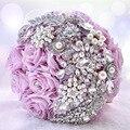 2016 Flores de Cristal de Lujo de La Boda Ramos de Flores Artificiales Rosa Púrpura Diamante de La Perla de Novia Dama de Honor Ramo Ramos De Mariage