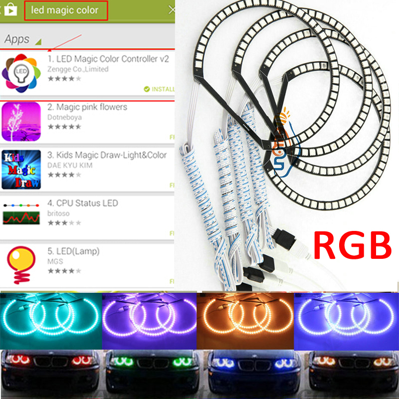 Xenon Headlight RGB MultiColor 5050 SMD LED Angel Eyes kit for BMW E38/E39/E46 Series Wifi Control Changing color