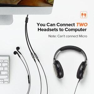 Image 2 - Ugreen rozdzielacz słuchawkowy kabel Audio 3.5mm męski na 2 żeńskie gniazdo 3.5mm Splitter Adapter kabel Aux dla iPhone Samsung odtwarzacz MP3