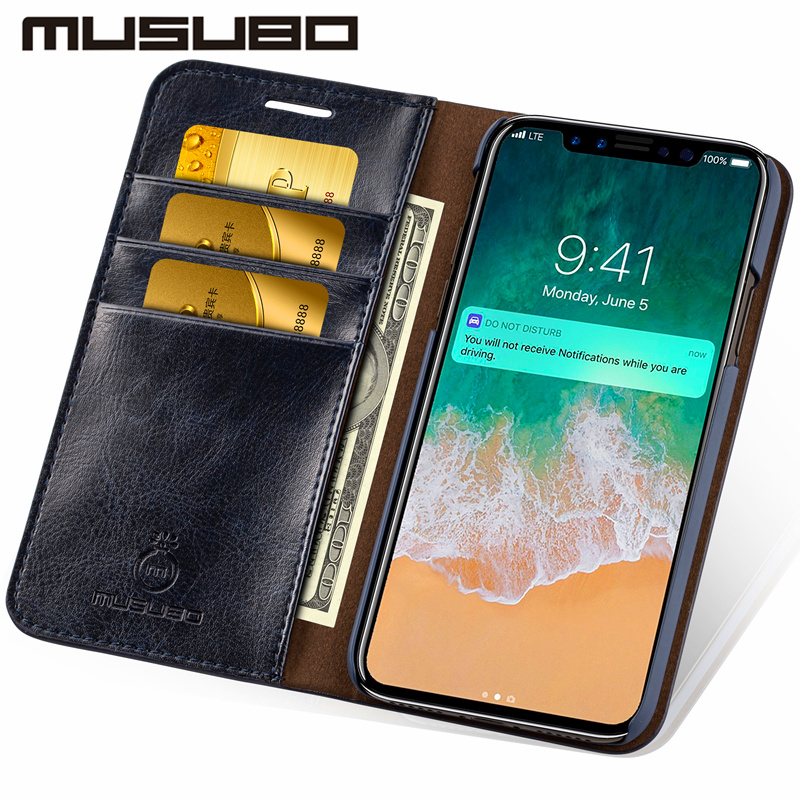 Musubo Leather Phone Case Cover For IPhone 8 Plus 5 5s SE Luxury Card Holder Wallet Flip Case For Iphone Xs Max 7 Plus 6s Plus 6