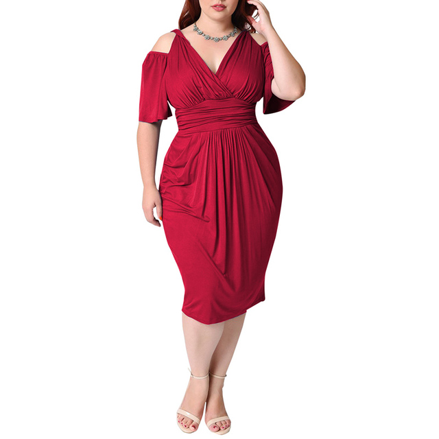 Women Plus Size 4XL 5XL 6XL Party Dresses Summer Cold Shoulder Elegant  Sheath Dress White Red Blue Black Beach Tunic Dresses Big-in Dresses from  Women s ... 5a6644f54269