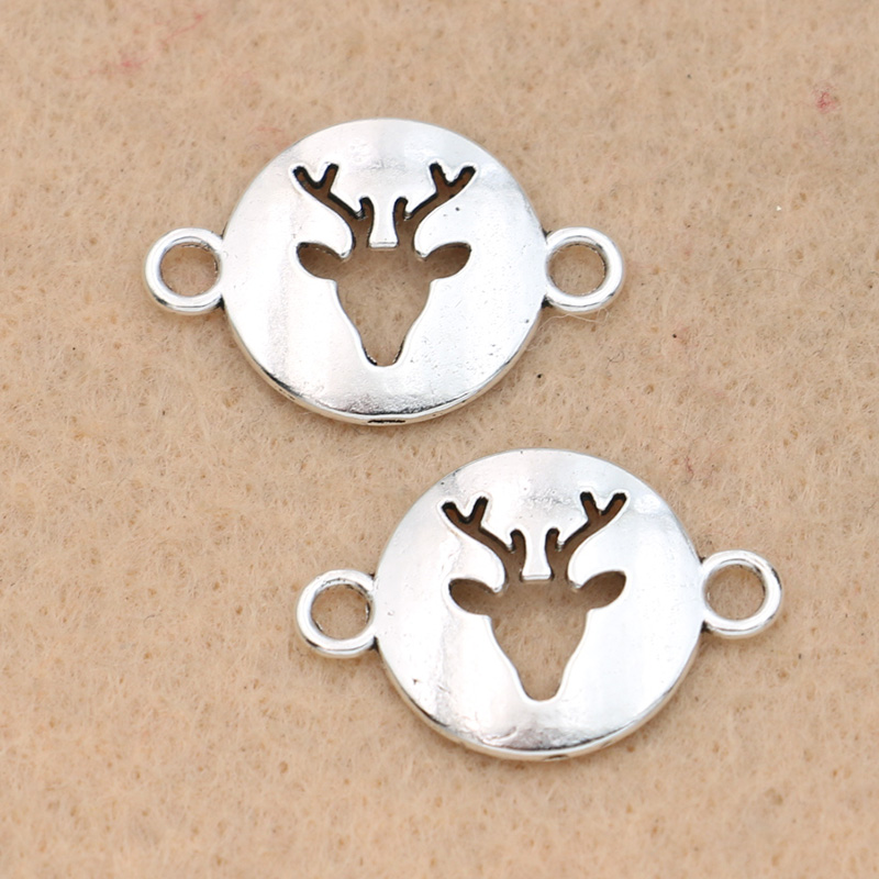 10pcs Tibetan Silver Plated Christmas Deer Connector For Jewelry Making Bracelet Necklace Handmade Jewelry Accessories DIY 16mm