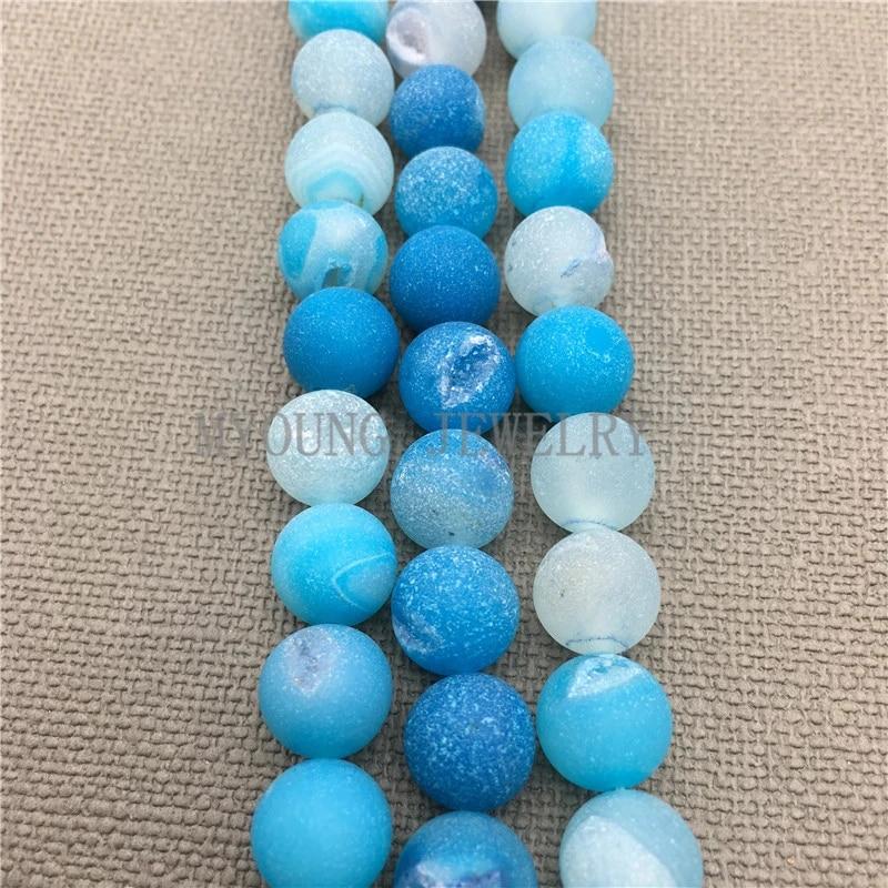 "6mm Light Blue Titanium Crystal Agate Quartz Geode Loose Bead 15.5 /"" A-591TZ"