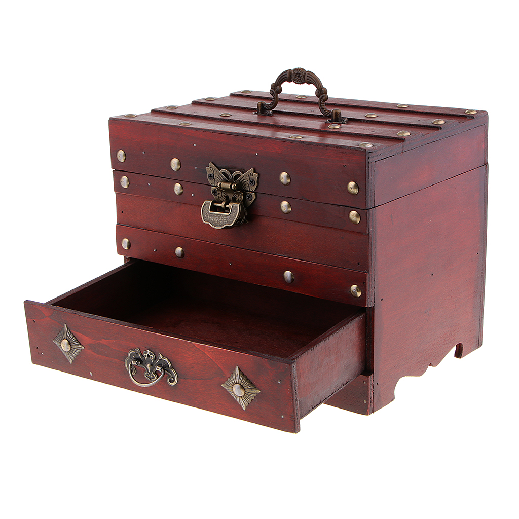 Vintage Wooden Jewelry Box with Mirror and Lock Storage Rings Trinket Case Organizer Case 2 Layer