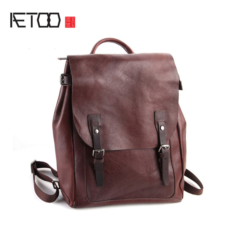 AETOO Pure leather Europe and the United States Japan and South Korea fashion retro bag leather backpack tide section of the sch japan and south korea in 2016 the new evening bag luxury sequins mesh ladies handbags fashion high grade magnetic buckle bag