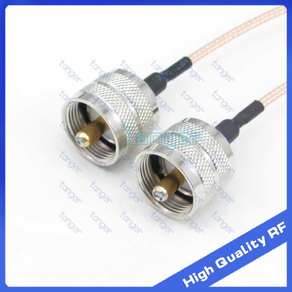 UHF male plug PL-259 to UHF male PL259 straight connector with 20cm 8 RG316 RF Coaxial Pigtail Low Loss cable high quality dvb t rf coaxial to mcx tv antenna connector black 22cm cable