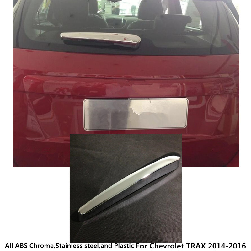 For Chevrolet TRAX 2014 2015 2016 car detector styling ABS chrome rear back glass wiper nozzle cover frame trim tail window 1PCS abs chrome tail rear trunk window side cover trim car styling accessories fit for ford kuga escape 2013 2014 2015 2pcs per set