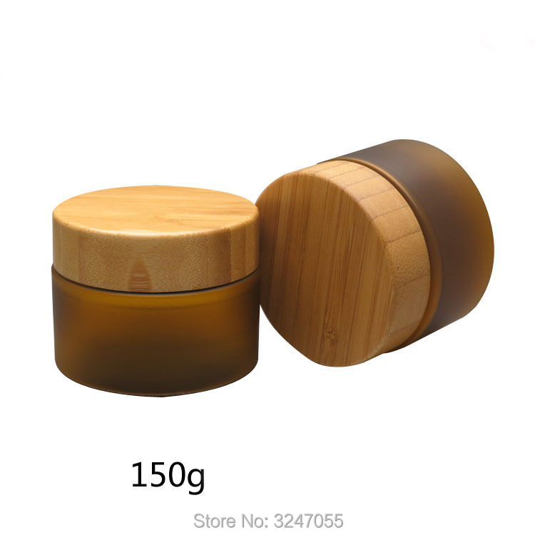 150ML 150G 10pcs/lot Matte Frosted PET Plastic Cream Jar with Bamboo Lid, Cosmetic Mask Refillable Container, Makeup Tool free shipping 50g 10pcs lot tawny pet cream box cosmetics packing jar with bamboo lid