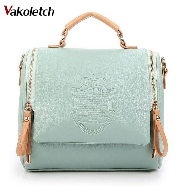 2018 British Crown Messenger Shoulder Bag Crossbody Zippers PU Fashion Leisure  Tote Lady Portable Bag Women Vintage Handbag K56 71ab4cb9ef