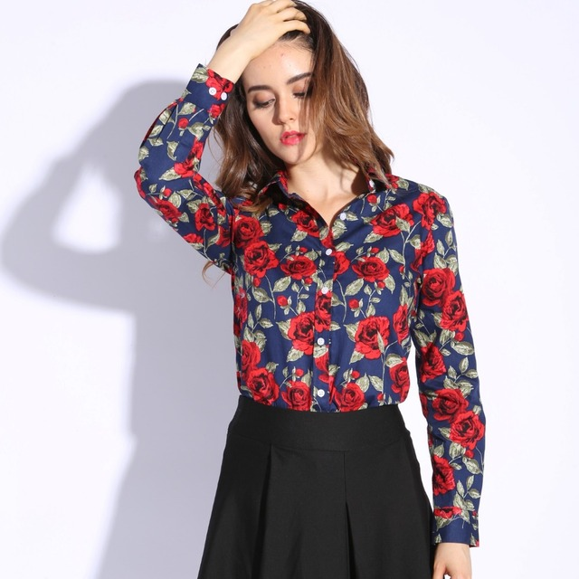 Dioufond Print new Women Long Sleeve Blouse Lipstick Floral Ladies Blouses Cotton Fashion Plus Size 5XL ladies Shirts 3