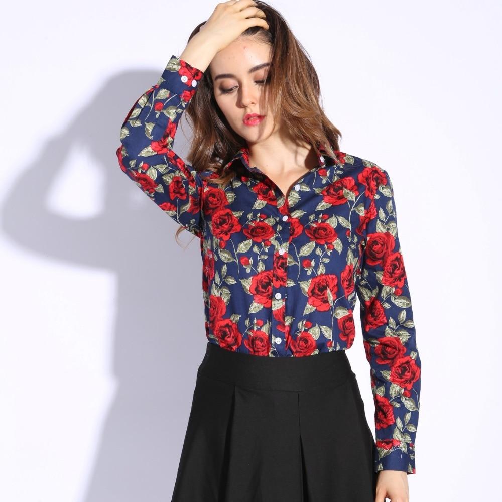 Dioufond blusas florales de la vendimia de las mujeres de algodón camisa de moda para mujer tops mujer blusas tallas grandes mujeres clothing manga larga blusa