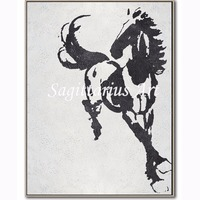 Hand made Contemporary Abstract Modern Oil Paintings Canvas Black And White Pentium of the horse Wall Art Home Decoration Fine