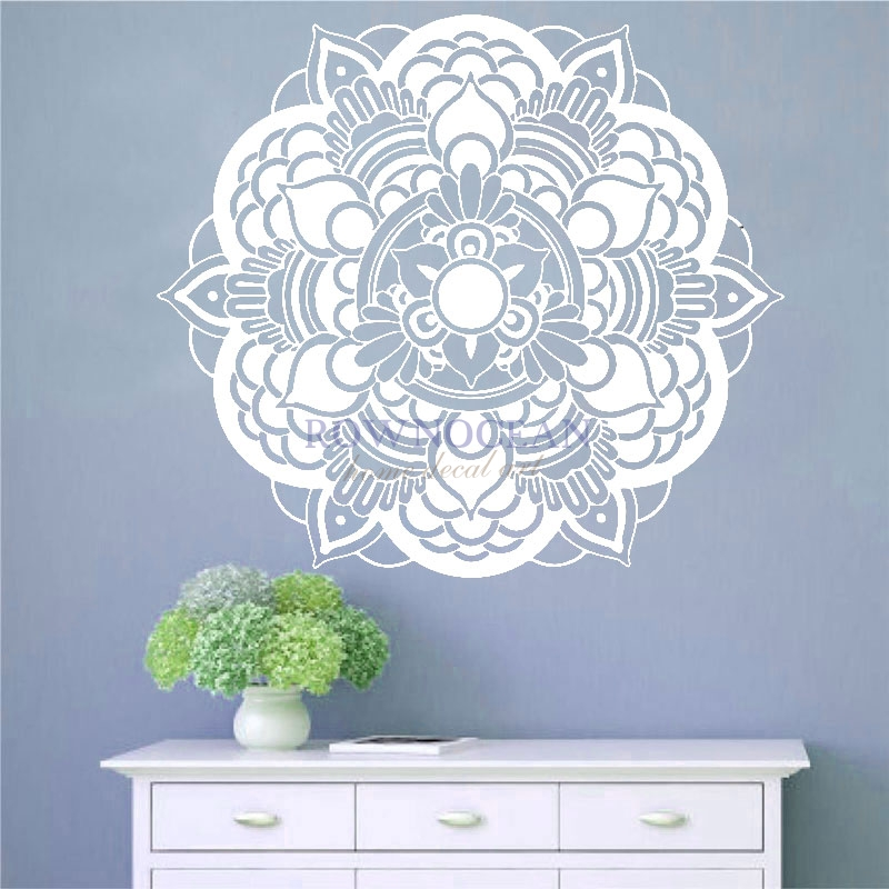 Mandala Wall Stickers Indian Buddhist Art Wall Sticker DIY Namaste Yoga Art Decor Home Office GYM Dorm Club Dining Room M609