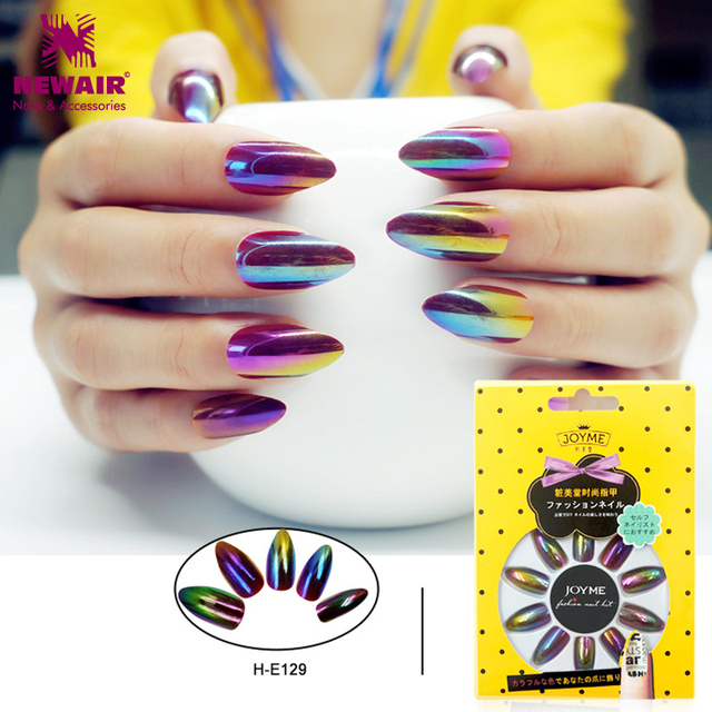 Aliexpress Buy New Laser Hologram Long Fake Nails With Designs