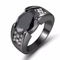 2015 New Fashion Jewelry Size 8 9 10 11 Black  sapphire ring 10KT  Black Rhodium Plated  Rings for women's Gift R024