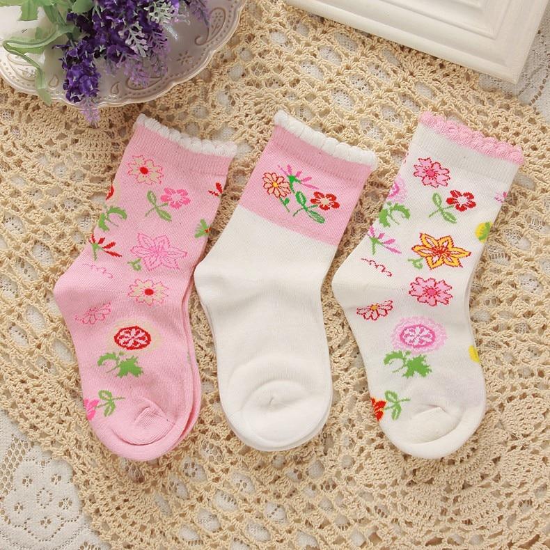 3 pairs / lot 2-3 years baby girls cotton quarter socks flower pattern chidren girls fall and spring floral trim socks