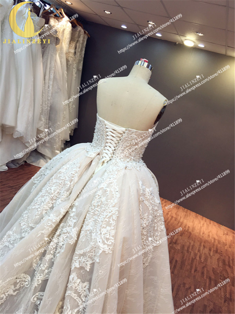 JIALINZEYI Sexy luxueux sans bretelles nu mode dentelle robe de bal Court Train elie saab mariée robes de mariée robe de mariée 2019 - 6