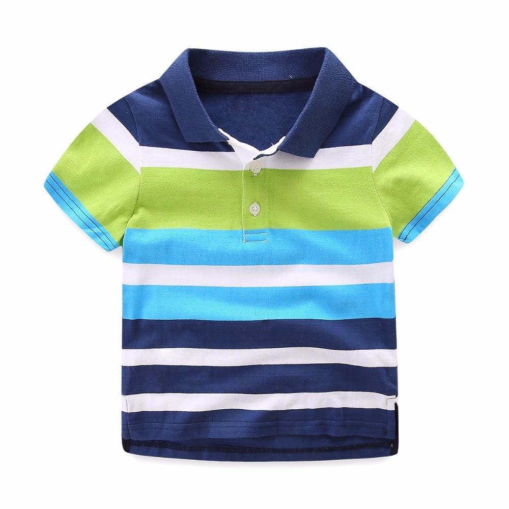 Mudkingdom Boys Striped Summer Polo Shirts Cotton Short Sleeve Turn